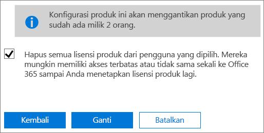 Pilih kotak centang untuk menghapus semua lisensi dari akun pengguna yang dipilih.