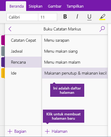 Cuplikan layar tombol Tambahkan Halaman di OneNote
