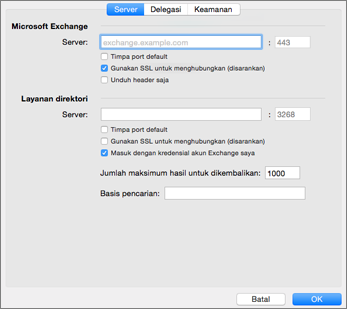Pengaturan server akun Exchange