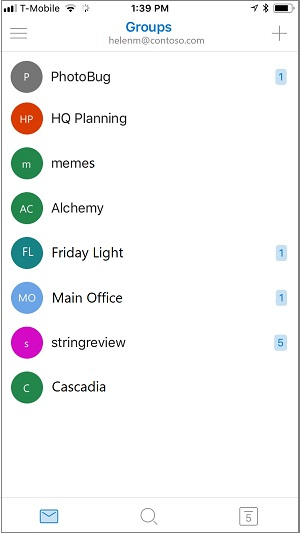 Layar Beranda aplikasi seluler grup