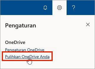 Menu pengaturan untuk OneDrive for Business online dengan Pulihkan disorot