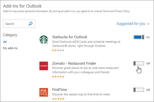 Cuplikan layar Add-in untuk halaman Outlook tempat Anda dapat melihat Add-in yang terinstal dan mencari serta memilih Add-in lainnya.