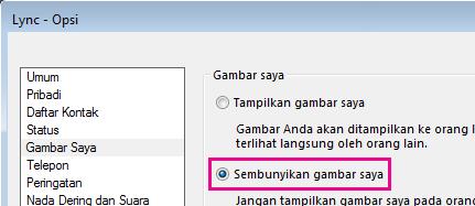 Cuplikan layar dari bagian opsi kotak dialog Gambar Saya memperlihatkan Sembunyikan gambar saya dipilih