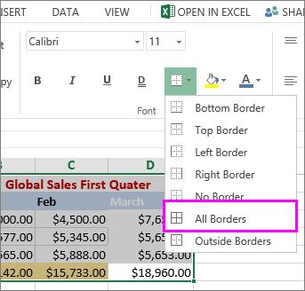 menambahkan batas ke tabel atau rentang data