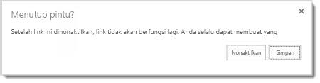 Kotak dialog yang menanyakan apakah Anda ingin menonaktifkan link tamu untuk dokumen yang telah dibagikan sehingga tidak akan berfungsi lagi.
