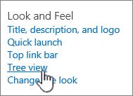 Pengaturan tampilan dan nuansa situs dengan tampilan pohon dipilih