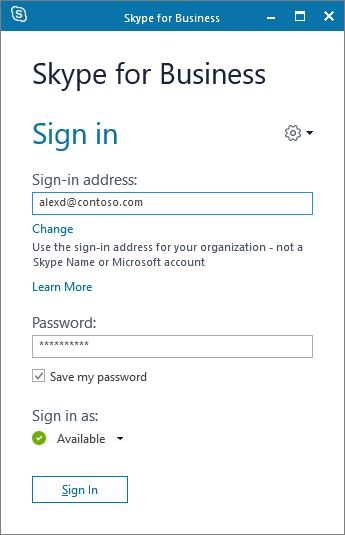 Cuplikan layar dari layar masuk Skype for Business.
