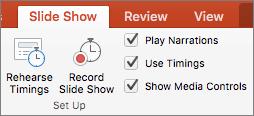Cuplikan layar memperlihatkan tab peragaan Slide dengan opsi untuk latih pengaturan waktu dan Rekam peragaan Slide bersama dengan kotak centang untuk memutar narasi, gunakan pengaturan waktu, dan Perlihatkan kontrol Media.