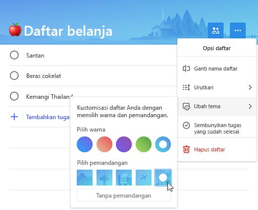 Cuplikan layar memperlihatkan daftar belanjaan dengan daftar opsi menu yang diperluas