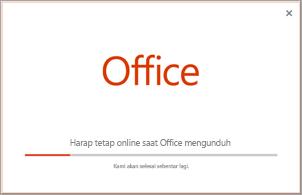 Kemajuan instalasi aplikasi Office