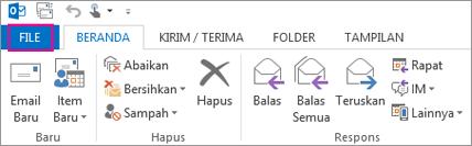 Seperti inilah pita desktop Outlook terlihat.