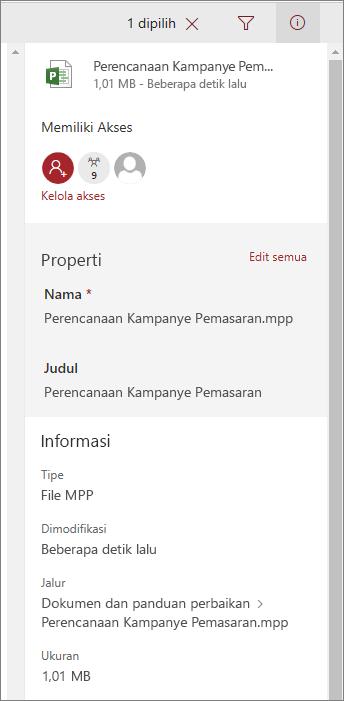 Lihat informasi file