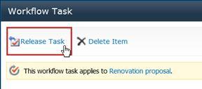 Lepaskan tombol tugas di formulir tugas