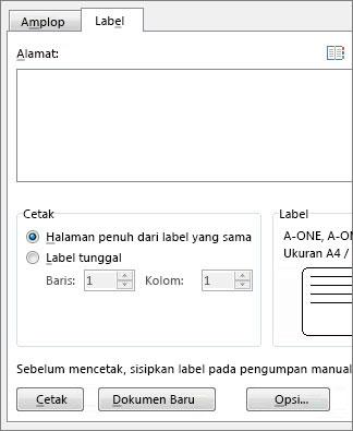 Opsi penyiapan Amplop dan Label