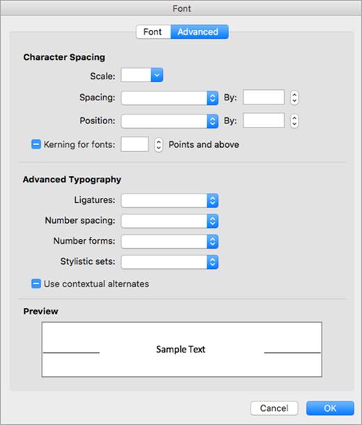 Memperlihatkan tab tingkat lanjut dalam kotak dialog Font