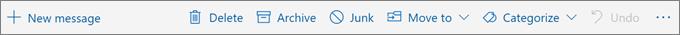 Cuplikan layar memperlihatkan bilah perintah yang muncul pada panel baca dengan opsi tindakan umum seperti Hapus, Arsip, dan Pindahkan ke.