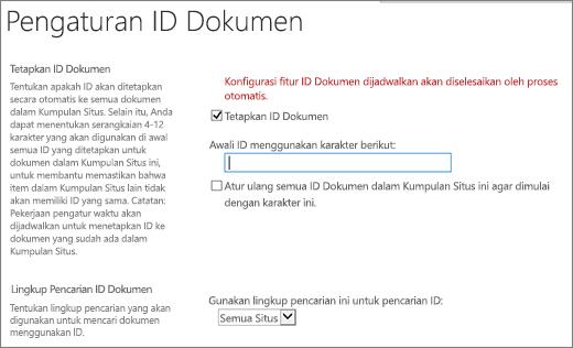 Tetapkan ID dokumen di halaman Pengaturan ID Dokumen