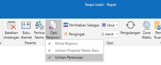 Mengizinkan opsi Penerusan di Outlook