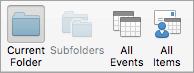 Memperlihatkan opsi pencarian kalender