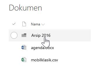 Pustaka dokumen SharePoint Online dengan folder disorot