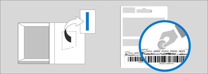 Memperlihatkan lokasi kunci produk di kotak produk dan pada kartu kunci produk.