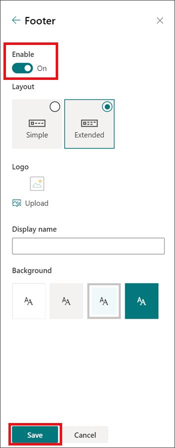 Mengubah panel tampilan dengan footer diaktifkan