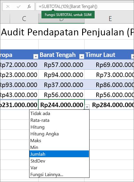 Contoh memilih rumus Total baris dari daftar turun bawah rumus baris Total