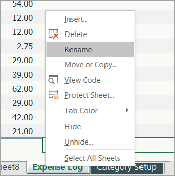 Cuplikan layar item menu Ganti Nama