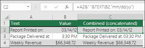 """Contoh contatenating nilai sel dengan teks.  Rumus adalah = A2 & TEXT(B2,""""""""mm/dd/yy"""") mana A2 ="""" laporan dicetak pada: """"dan B2 = 03/14/12."""