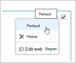 Menu komponen web dengan Minimalkan disorot
