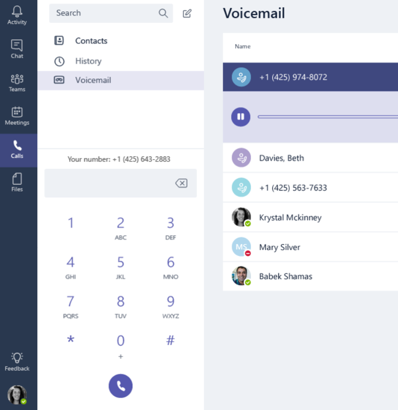 Layar panggilan dengan kontak, riwayat pesan suara, dan tombol angka