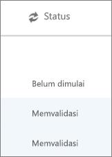 Halaman migrasi Data menampilkan status migrasi untuk setiap pengguna