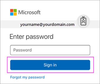Masukkan kata sandi Outlook.com Anda