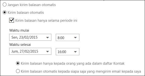 Pengaturan waktu balasan otomatis Outlook di web