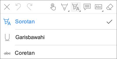 OneDrive untuk iOS Menu menyoroti PDF Markup