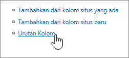Urutan kolom konten situs yang dipilih