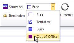 Perintah Perlihatkan waktu sebagai Di Luar Kantor