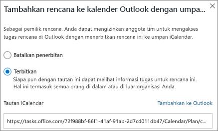Cuplikan layar Tambahkan paket untuk kotak dialog kalender Outlook