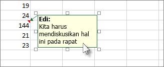 Klik tepi kotak komentar untuk memindahkan atau mengubah ukurannya