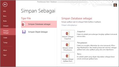 Opsi Simpan Sebagai Database pada layar Simpan Sebagai