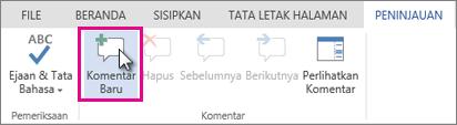 Menambahkan komentar baru dalam edit tampilan