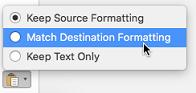 Opsi tempel saat menempelkan teks ke Outlook untuk Mac