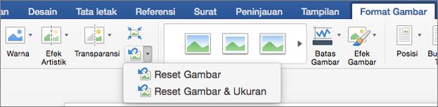 Klik Reset latar belakang pada tab Format gambar