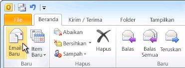 Perintah Email Baru pada pita
