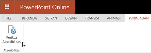 Cuplikan layar memperlihatkan tab Tinjau dengan kursor yang menunjuk ke opsi Periksa Aksesibilitas.