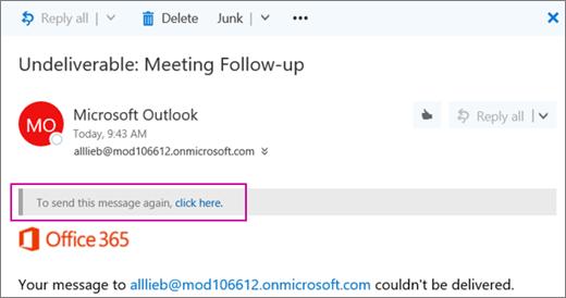 Cuplikan layar memperlihatkan bagian dari sebuah pesan tidak terkirim pantulkan dengan opsi untuk mengirim pesan itu lagi.