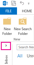 Panah memperluas panel Folder.