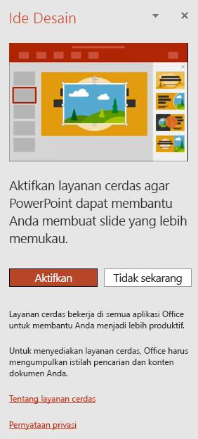 Menampilkan pesan awal yang muncul ketika PowerPoint Designer diminta