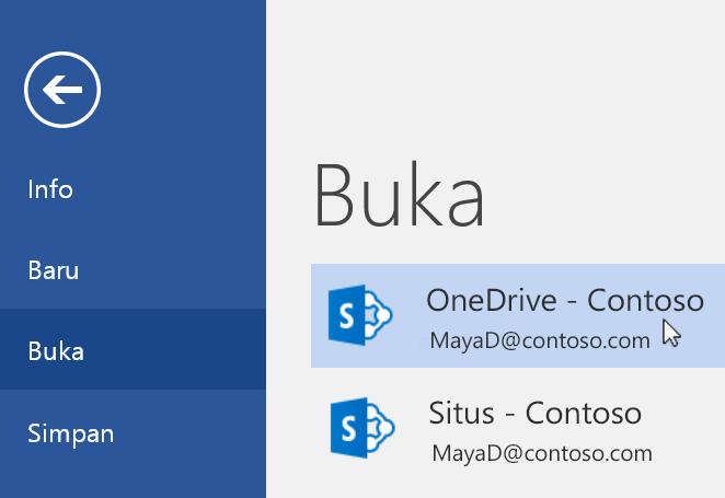 Cuplikan layar menu File > Buka di Word.