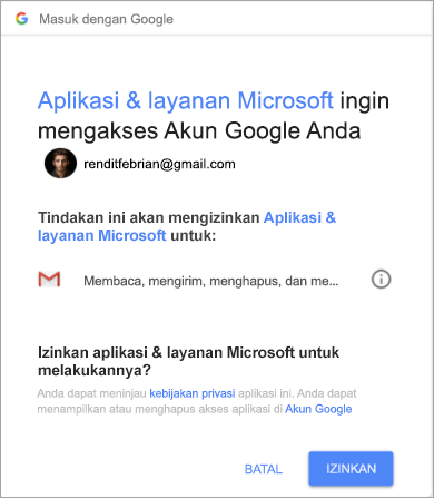 Memperlihatkan jendela izin yang memungkinkan Outlook mengakses akun gmail Anda